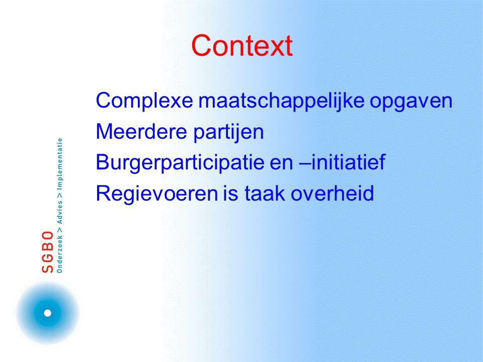 Context Complexe maatschappelijke opgaven Meerdere partijen Burgerparticipatie en –initiatief Regievoeren is taak overheid