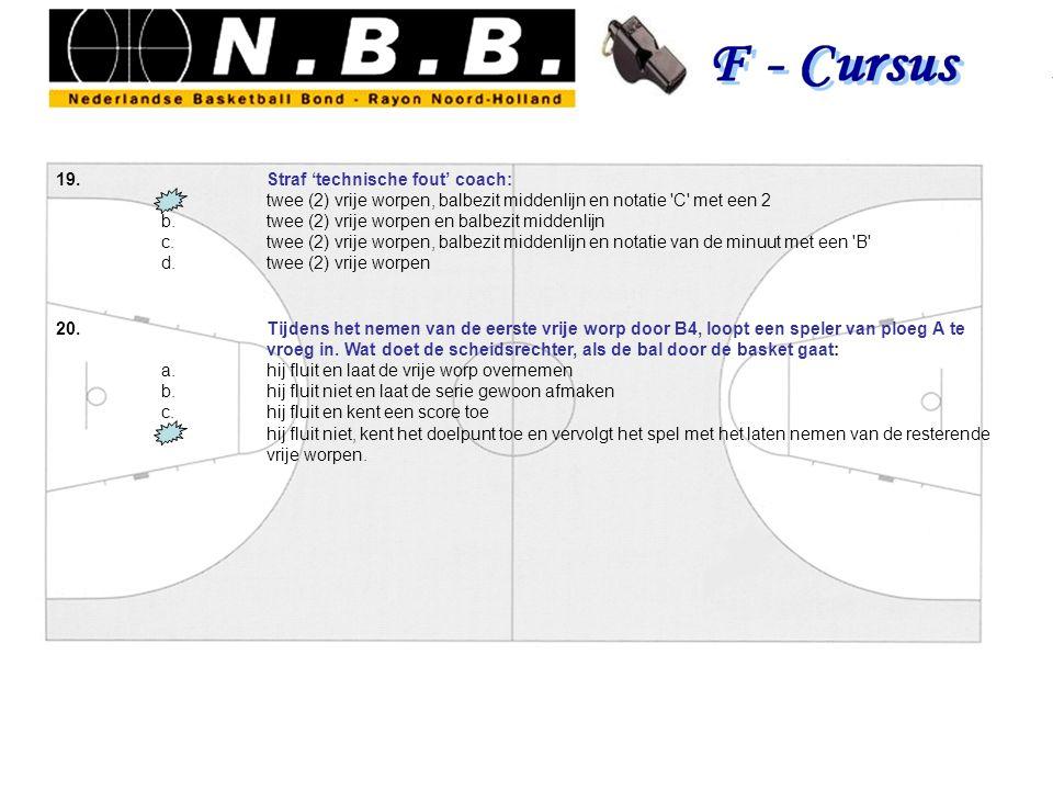 19.Straf 'technische fout' coach: a.twee (2) vrije worpen, balbezit middenlijn en notatie C met een 2 b.twee (2) vrije worpen en balbezit middenlijn c.twee (2) vrije worpen, balbezit middenlijn en notatie van de minuut met een B d.twee (2) vrije worpen 20.Tijdens het nemen van de eerste vrije worp door B4, loopt een speler van ploeg A te vroeg in.