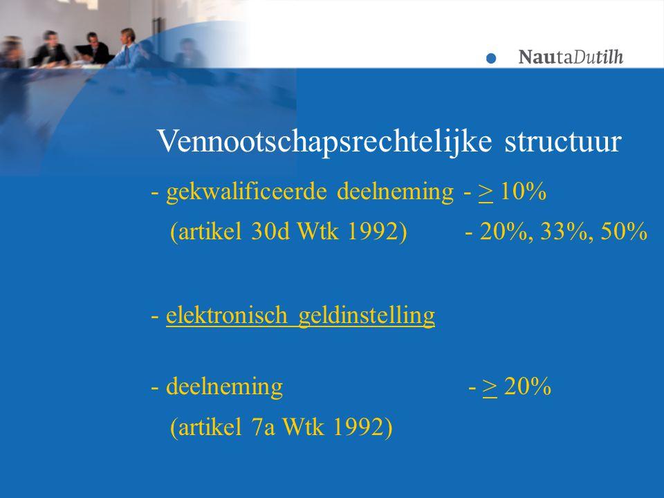 - gekwalificeerde deelneming - > 10% (artikel 30d Wtk 1992) - 20%, 33%, 50% - elektronisch geldinstelling - deelneming - > 20% (artikel 7a Wtk 1992) Vennootschapsrechtelijke structuur