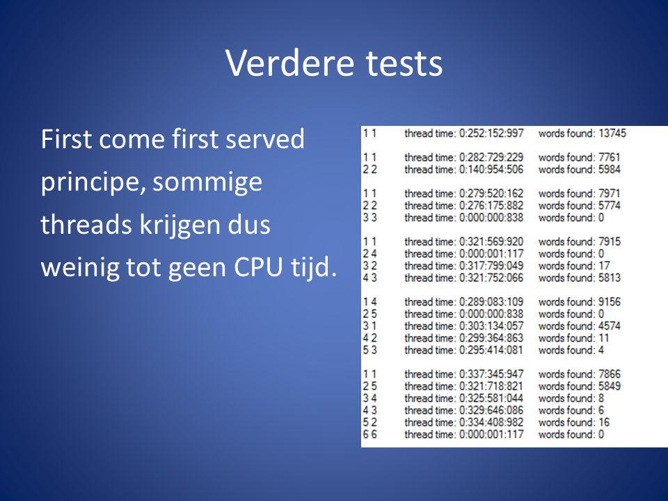 Verdere tests First come first served principe, sommige threads krijgen dus weinig tot geen CPU tijd.