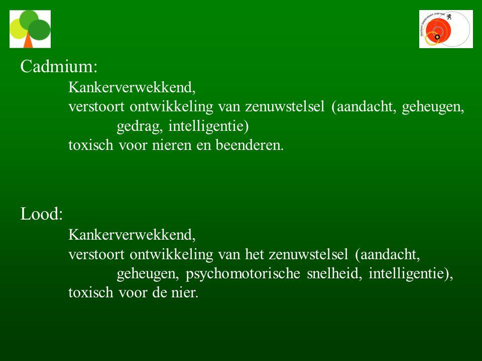 Cadmium: Kankerverwekkend, verstoort ontwikkeling van zenuwstelsel (aandacht, geheugen, gedrag, intelligentie) toxisch voor nieren en beenderen.