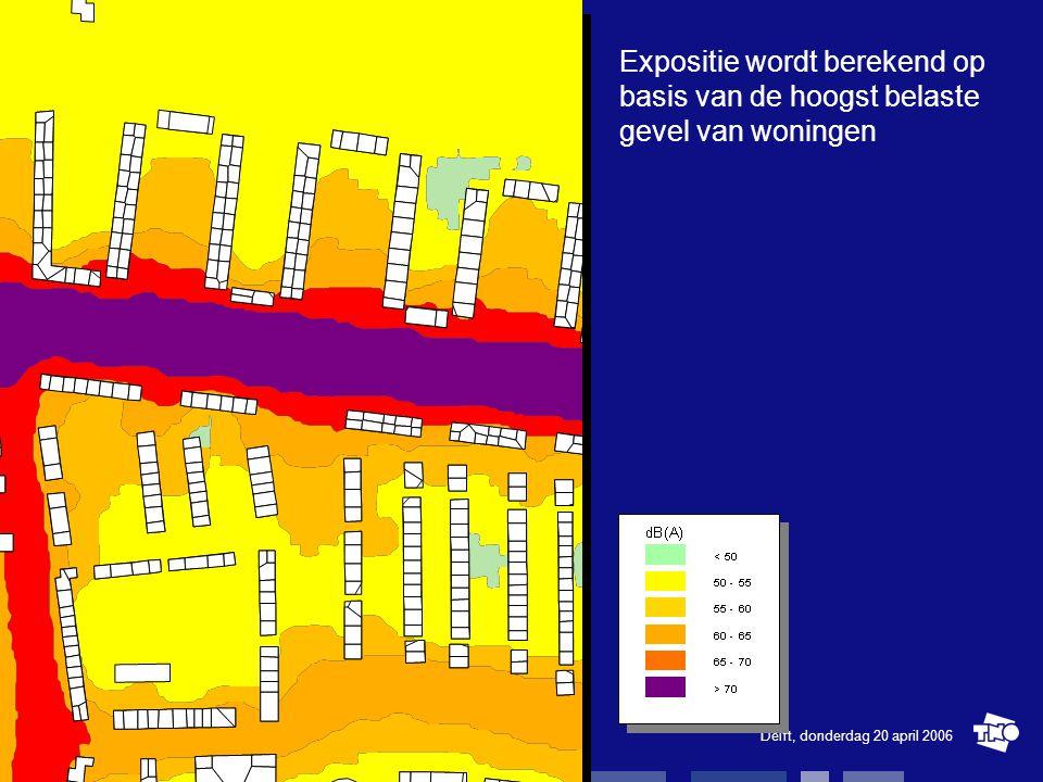 Delft, donderdag 20 april 2006Urbis / Urban Strategy15 Expositie wordt berekend op basis van de hoogst belaste gevel van woningen