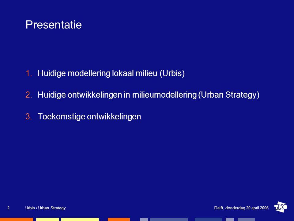 Delft, donderdag 20 april 2006Urbis / Urban Strategy2 Presentatie 1.Huidige modellering lokaal milieu (Urbis) 2.Huidige ontwikkelingen in milieumodellering (Urban Strategy) 3.Toekomstige ontwikkelingen