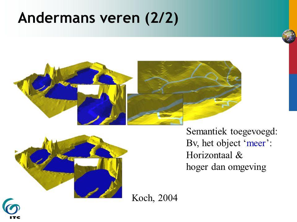 Andermans veren (2/2) Koch, 2004 Semantiek toegevoegd: Bv, het object 'meer': Horizontaal & hoger dan omgeving