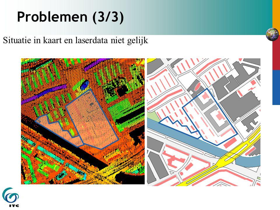 Problemen (3/3) Situatie in kaart en laserdata niet gelijk