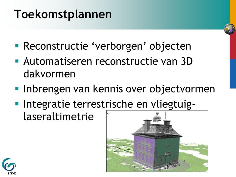 Toekomstplannen  Reconstructie 'verborgen' objecten  Automatiseren reconstructie van 3D dakvormen  Inbrengen van kennis over objectvormen  Integratie terrestrische en vliegtuig- laseraltimetrie