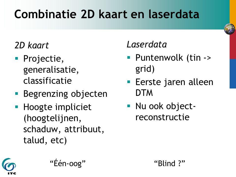 Combinatie 2D kaart en laserdata 2D kaart  Projectie, generalisatie, classificatie  Begrenzing objecten  Hoogte impliciet (hoogtelijnen, schaduw, attribuut, talud, etc) Laserdata  Puntenwolk (tin -> grid)  Eerste jaren alleen DTM  Nu ook object- reconstructie Één-oog Blind ?