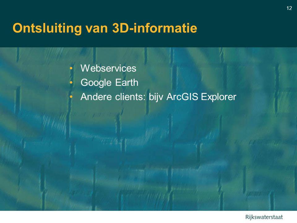 12 Ontsluiting van 3D-informatie Webservices Google Earth Andere clients: bijv ArcGIS Explorer