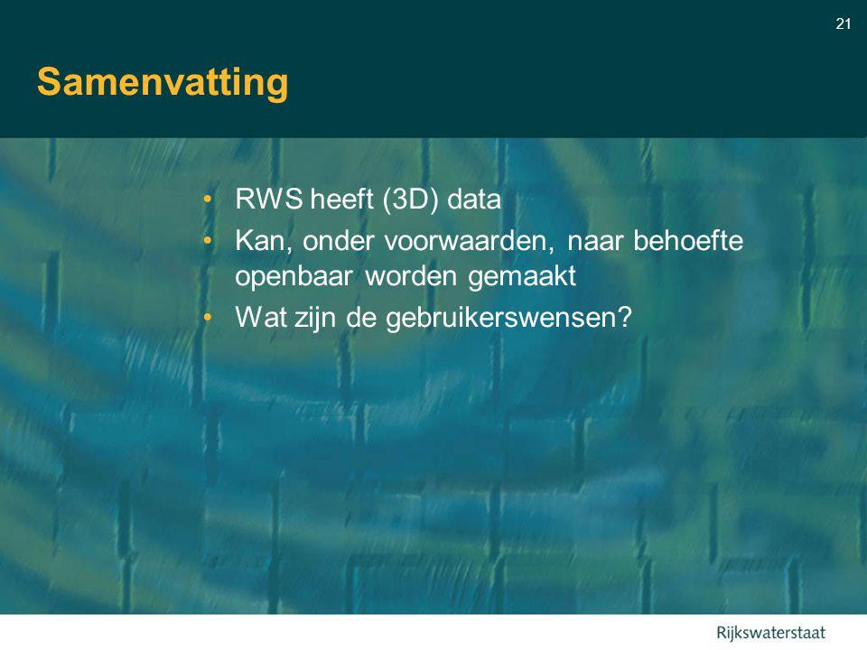 21 Samenvatting RWS heeft (3D) data Kan, onder voorwaarden, naar behoefte openbaar worden gemaakt Wat zijn de gebruikerswensen