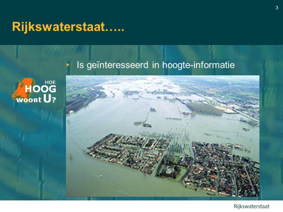 3 Rijkswaterstaat….. Is geïnteresseerd in hoogte-informatie