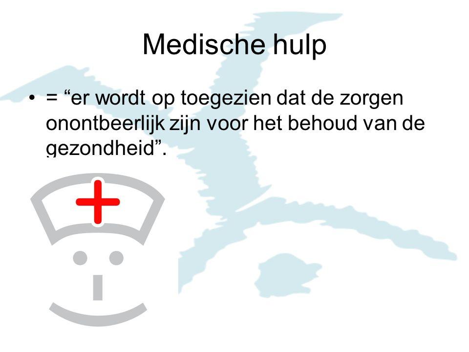 Medische hulp = er wordt op toegezien dat de zorgen onontbeerlijk zijn voor het behoud van de gezondheid .