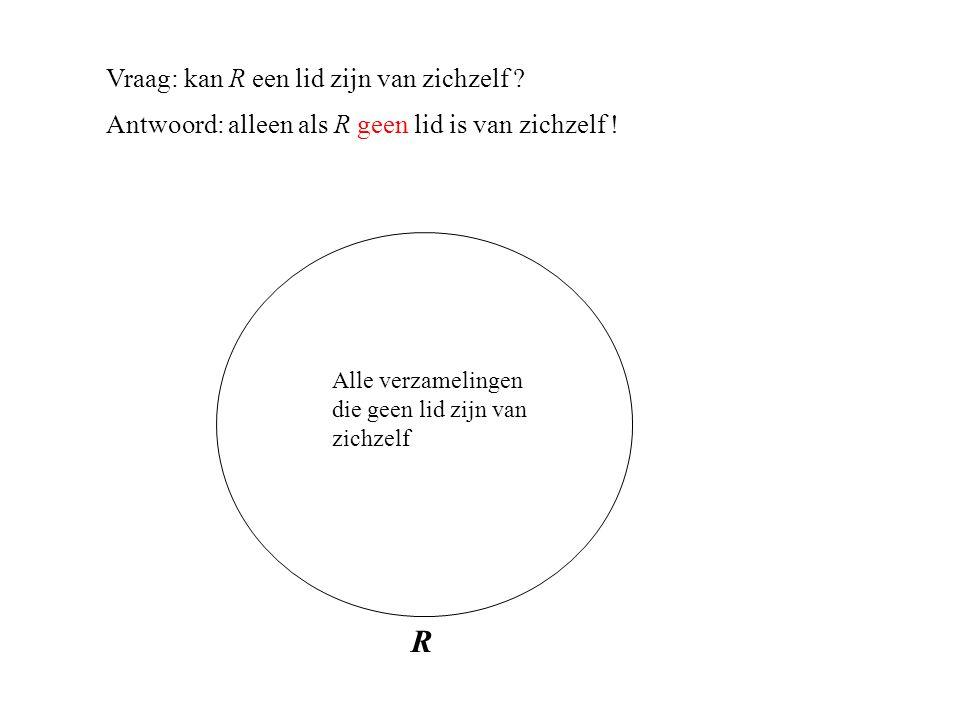 Vraag: kan R een lid zijn van zichzelf . Antwoord: alleen als R geen lid is van zichzelf .