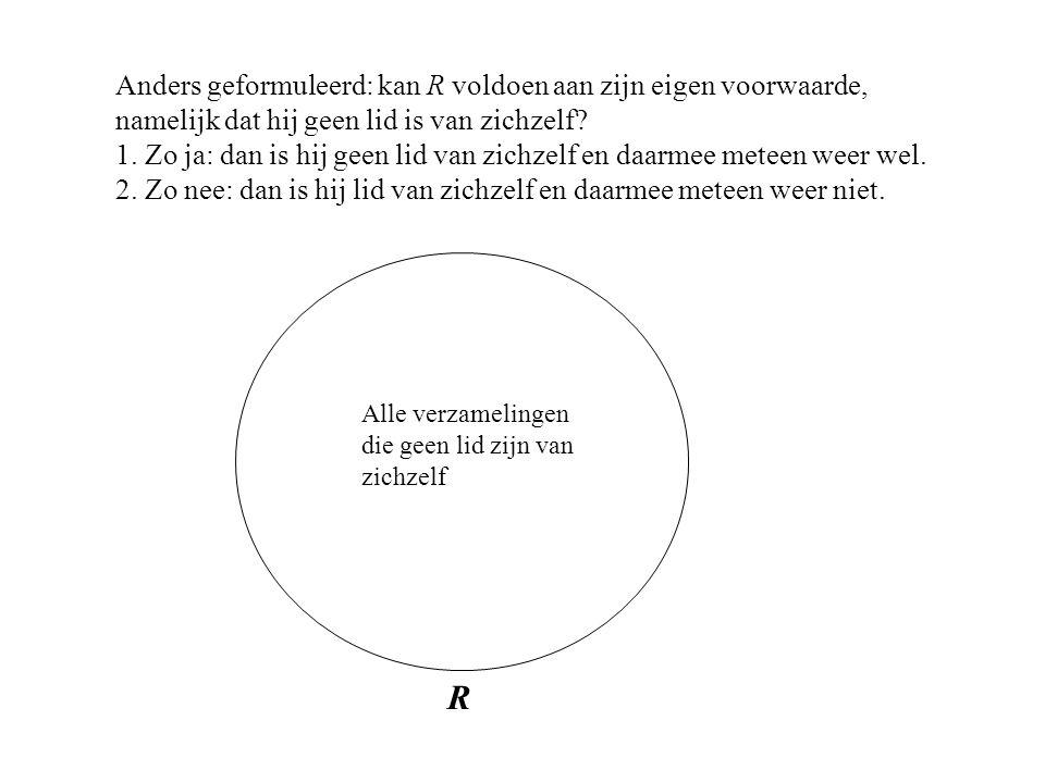Anders geformuleerd: kan R voldoen aan zijn eigen voorwaarde, namelijk dat hij geen lid is van zichzelf.