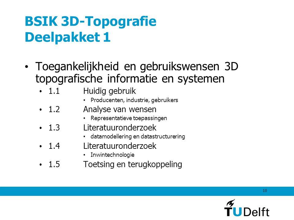 10 BSIK 3D-Topografie Deelpakket 1 Toegankelijkheid en gebruikswensen 3D topografische informatie en systemen 1.1Huidig gebruik Producenten, industrie