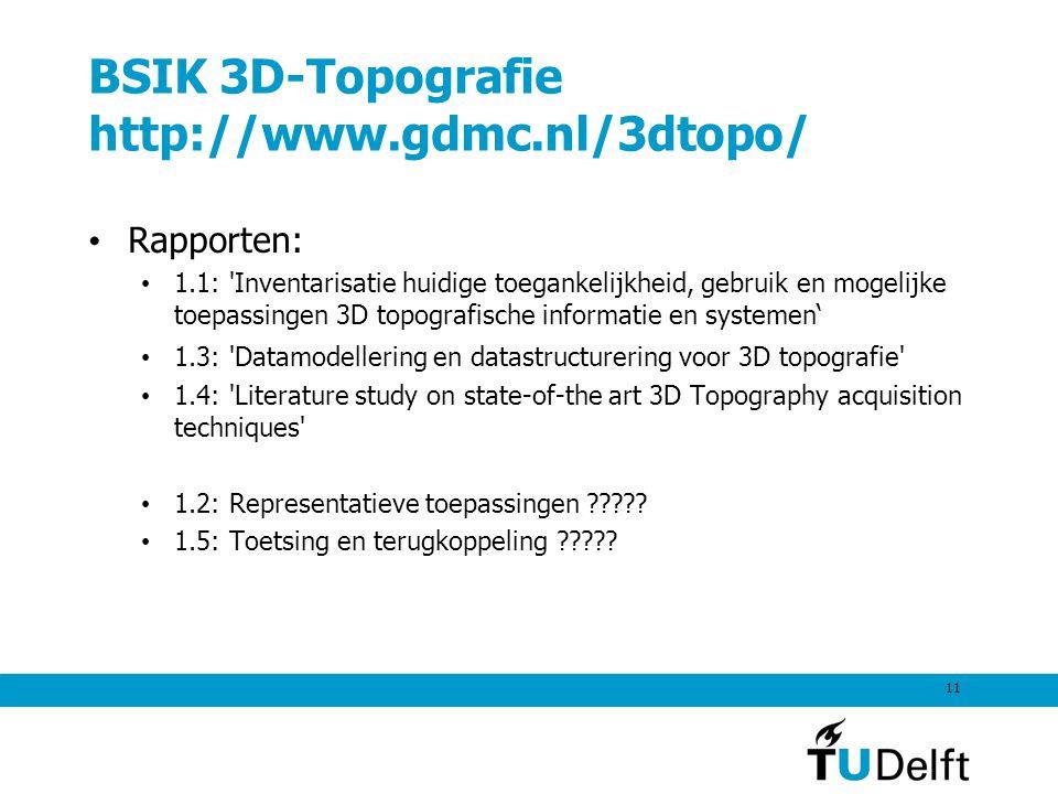 11 BSIK 3D-Topografie http://www.gdmc.nl/3dtopo/ Rapporten: 1.1: 'Inventarisatie huidige toegankelijkheid, gebruik en mogelijke toepassingen 3D topogr