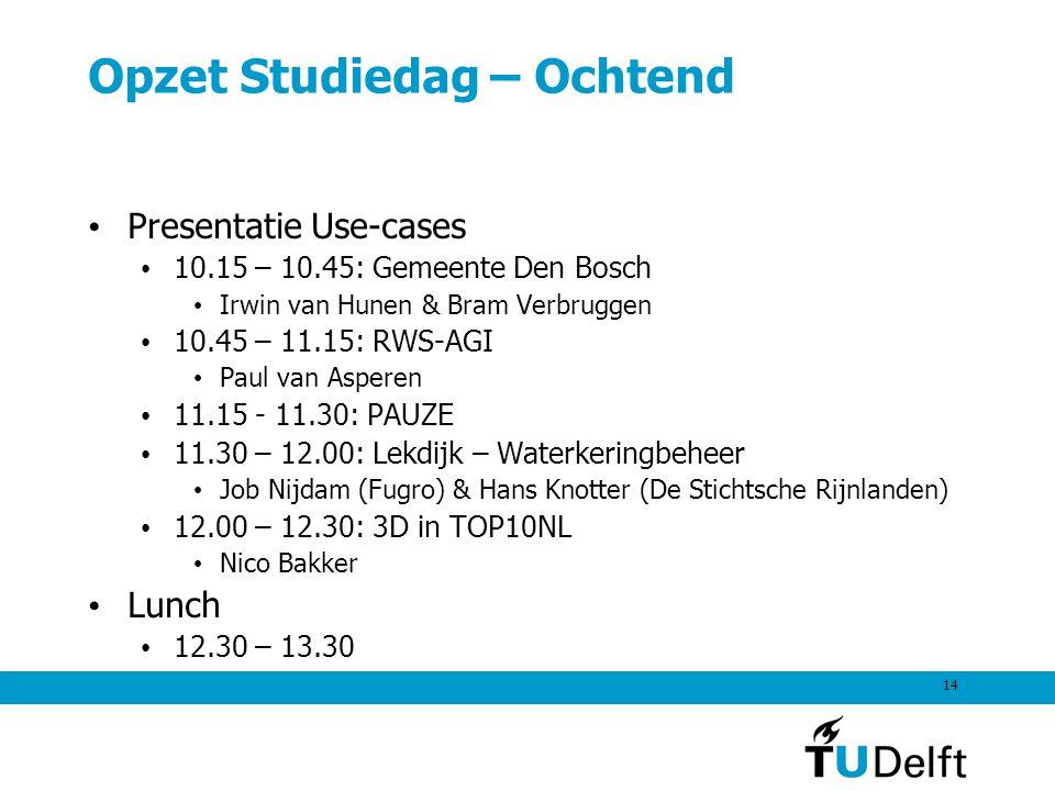14 Opzet Studiedag – Ochtend Presentatie Use-cases 10.15 – 10.45: Gemeente Den Bosch Irwin van Hunen & Bram Verbruggen 10.45 – 11.15: RWS-AGI Paul van