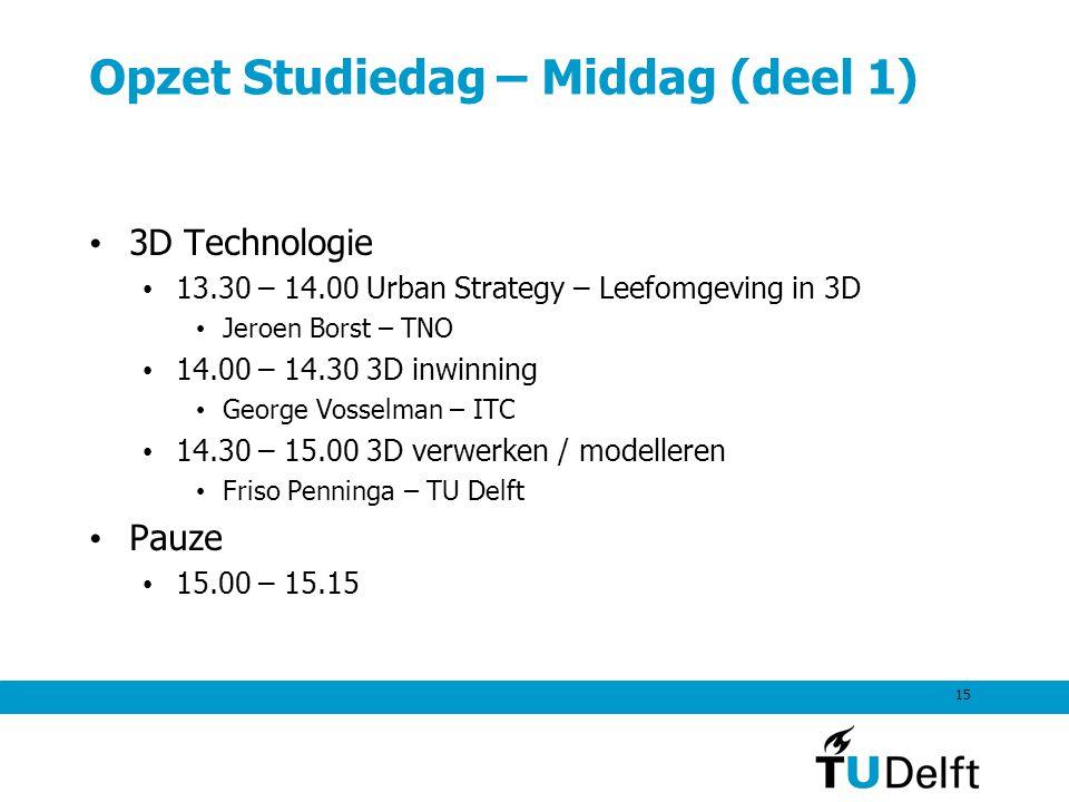 15 Opzet Studiedag – Middag (deel 1) 3D Technologie 13.30 – 14.00 Urban Strategy – Leefomgeving in 3D Jeroen Borst – TNO 14.00 – 14.30 3D inwinning Ge
