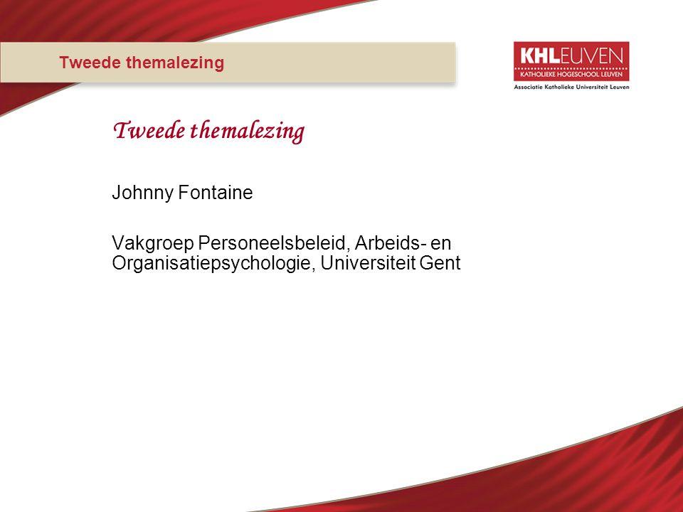 Tweede themalezing Johnny Fontaine Vakgroep Personeelsbeleid, Arbeids- en Organisatiepsychologie, Universiteit Gent