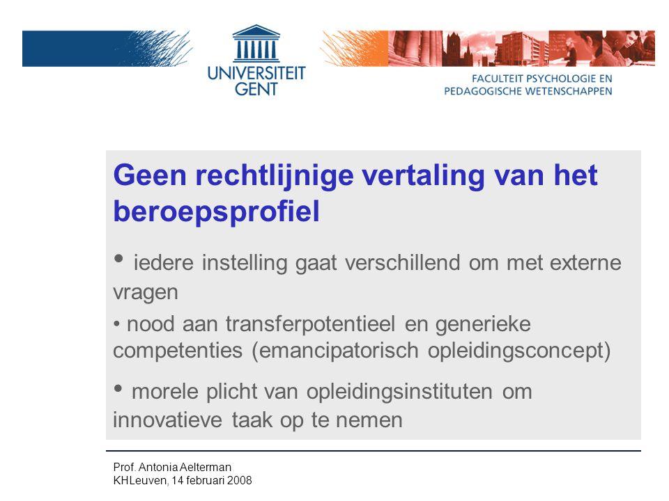Geen rechtlijnige vertaling van het beroepsprofiel iedere instelling gaat verschillend om met externe vragen nood aan transferpotentieel en generieke