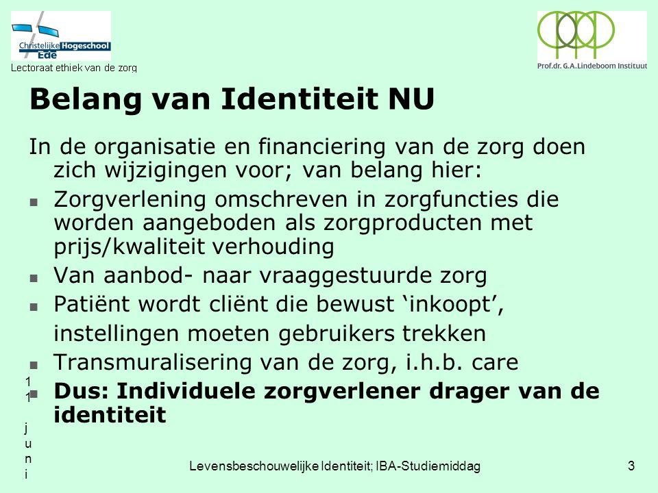 11 juni 200411 juni 2004 Levensbeschouwelijke Identiteit; IBA-Studiemiddag3 Belang van Identiteit NU In de organisatie en financiering van de zorg doen zich wijzigingen voor; van belang hier: Zorgverlening omschreven in zorgfuncties die worden aangeboden als zorgproducten met prijs/kwaliteit verhouding Van aanbod- naar vraaggestuurde zorg Patiënt wordt cliënt die bewust 'inkoopt', instellingen moeten gebruikers trekken Transmuralisering van de zorg, i.h.b.