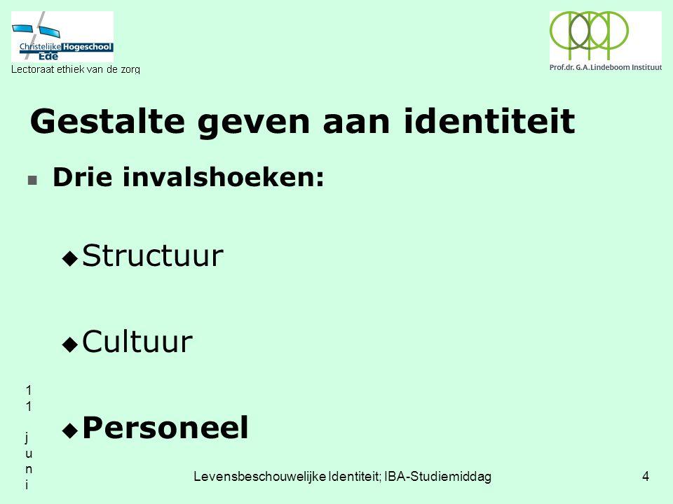11 juni 200411 juni 2004 Levensbeschouwelijke Identiteit; IBA-Studiemiddag4 Gestalte geven aan identiteit Drie invalshoeken:  Structuur  Cultuur  Personeel