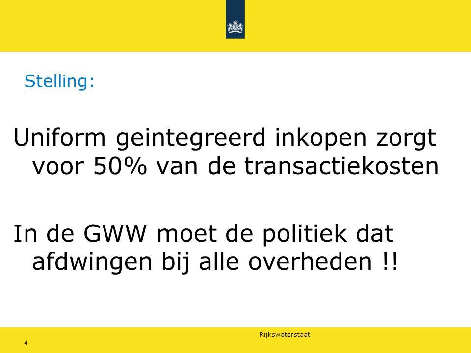 Rijkswaterstaat 4 Stelling: Uniform geintegreerd inkopen zorgt voor 50% van de transactiekosten In de GWW moet de politiek dat afdwingen bij alle overheden !!