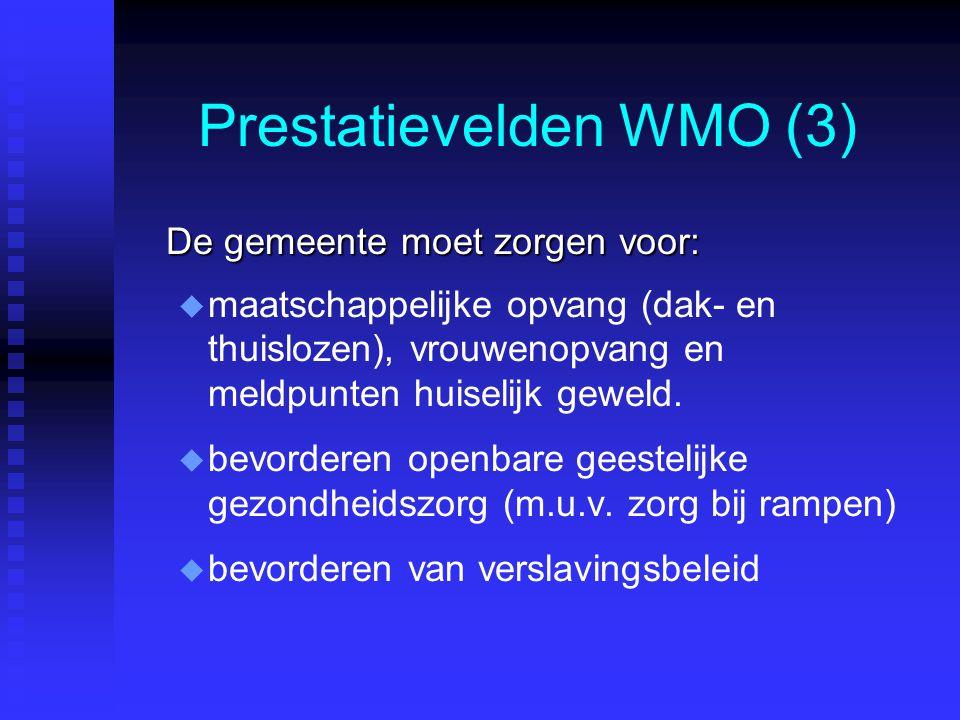 Prestatievelden WMO (3) De gemeente moet zorgen voor: u u maatschappelijke opvang (dak- en thuislozen), vrouwenopvang en meldpunten huiselijk geweld.