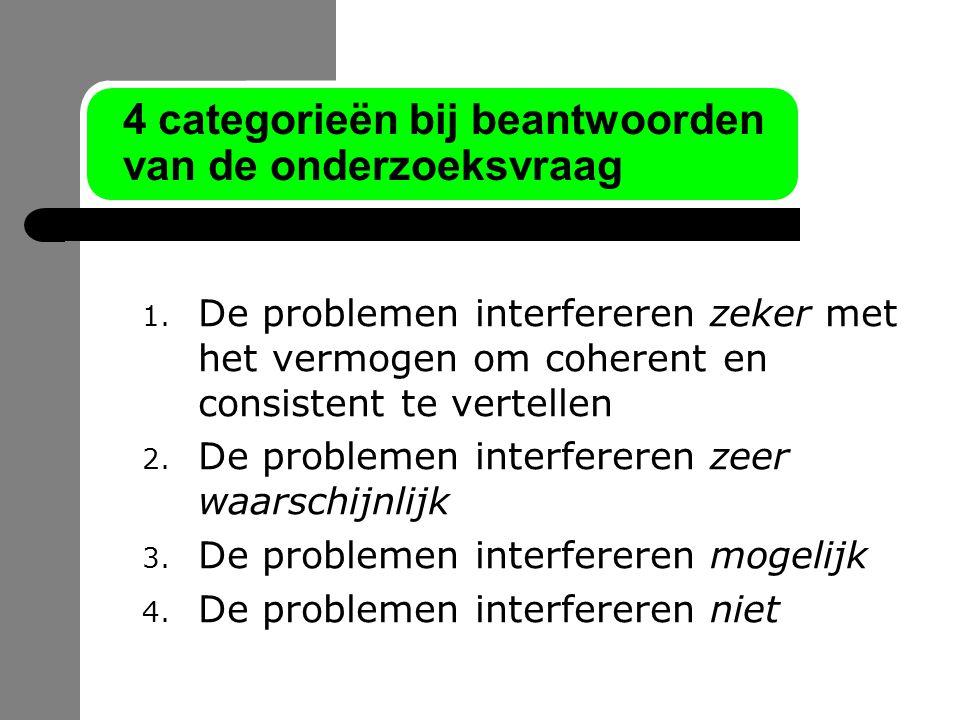 4 categorieën bij beantwoorden van de onderzoeksvraag 1. De problemen interfereren zeker met het vermogen om coherent en consistent te vertellen 2. De