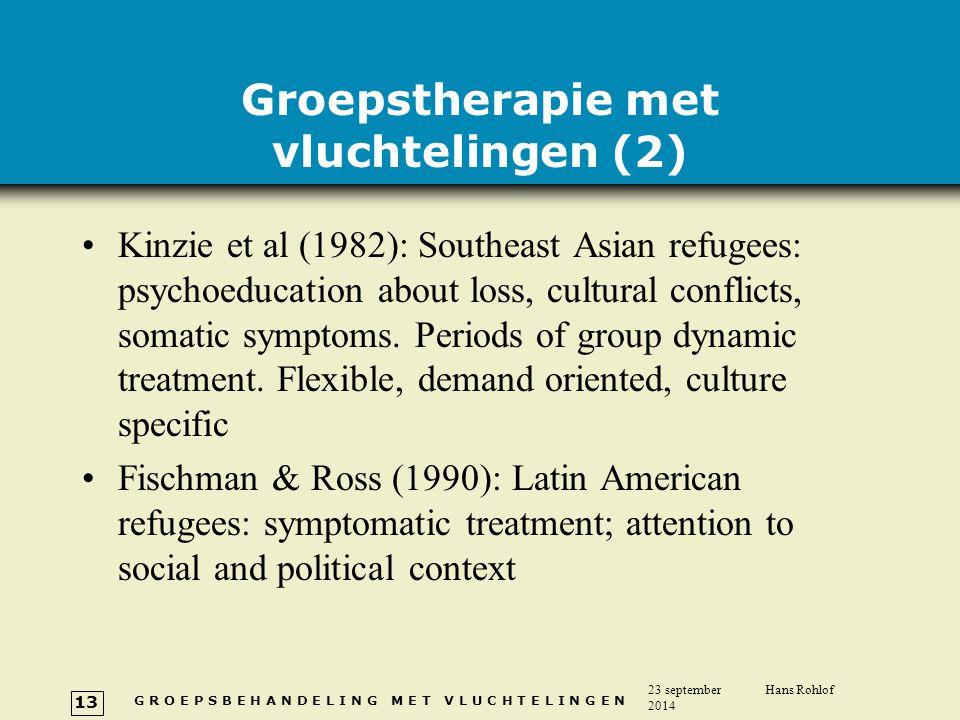 G R O E P S B E H A N D E L I N G M E T V L U C H T E L I N G E N 23 september 2014 Hans Rohlof 13 Groepstherapie met vluchtelingen (2) Kinzie et al (