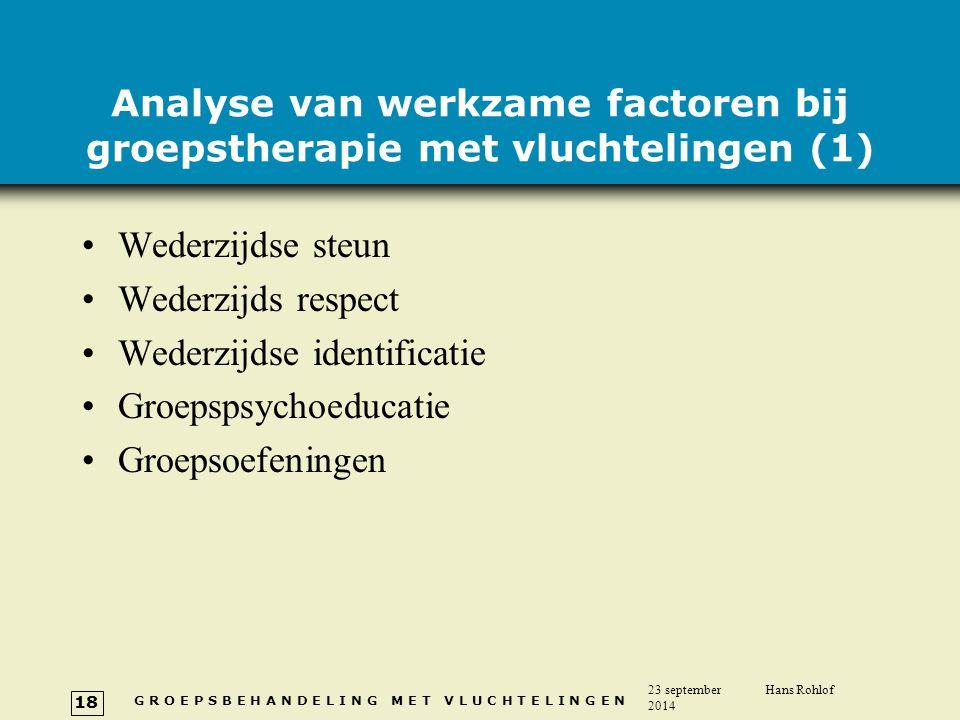 G R O E P S B E H A N D E L I N G M E T V L U C H T E L I N G E N 23 september 2014 Hans Rohlof 18 Analyse van werkzame factoren bij groepstherapie me