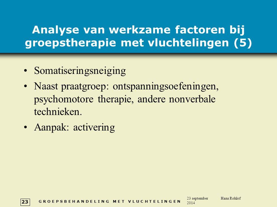 G R O E P S B E H A N D E L I N G M E T V L U C H T E L I N G E N 23 september 2014 Hans Rohlof 23 Analyse van werkzame factoren bij groepstherapie me