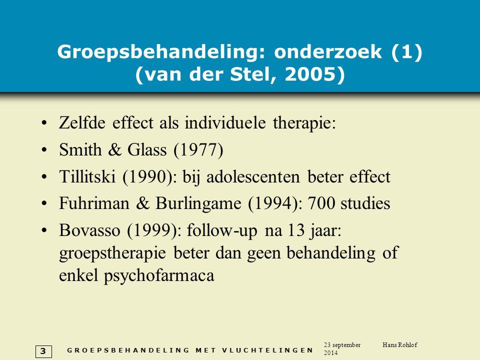 G R O E P S B E H A N D E L I N G M E T V L U C H T E L I N G E N 23 september 2014 Hans Rohlof 3 Groepsbehandeling: onderzoek (1) (van der Stel, 2005