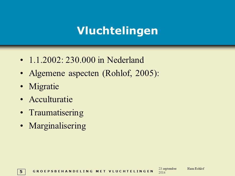 G R O E P S B E H A N D E L I N G M E T V L U C H T E L I N G E N 23 september 2014 Hans Rohlof 5 Vluchtelingen 1.1.2002: 230.000 in Nederland Algemen