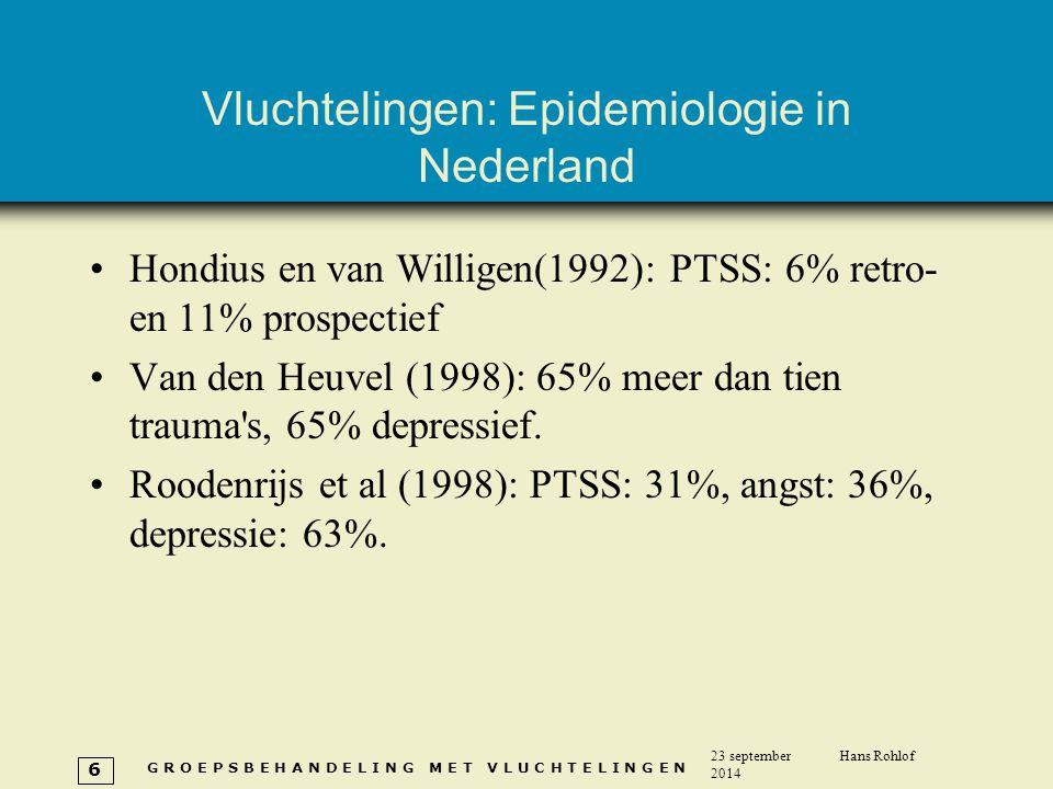 G R O E P S B E H A N D E L I N G M E T V L U C H T E L I N G E N 23 september 2014 Hans Rohlof 6 Vluchtelingen: Epidemiologie in Nederland Hondius en