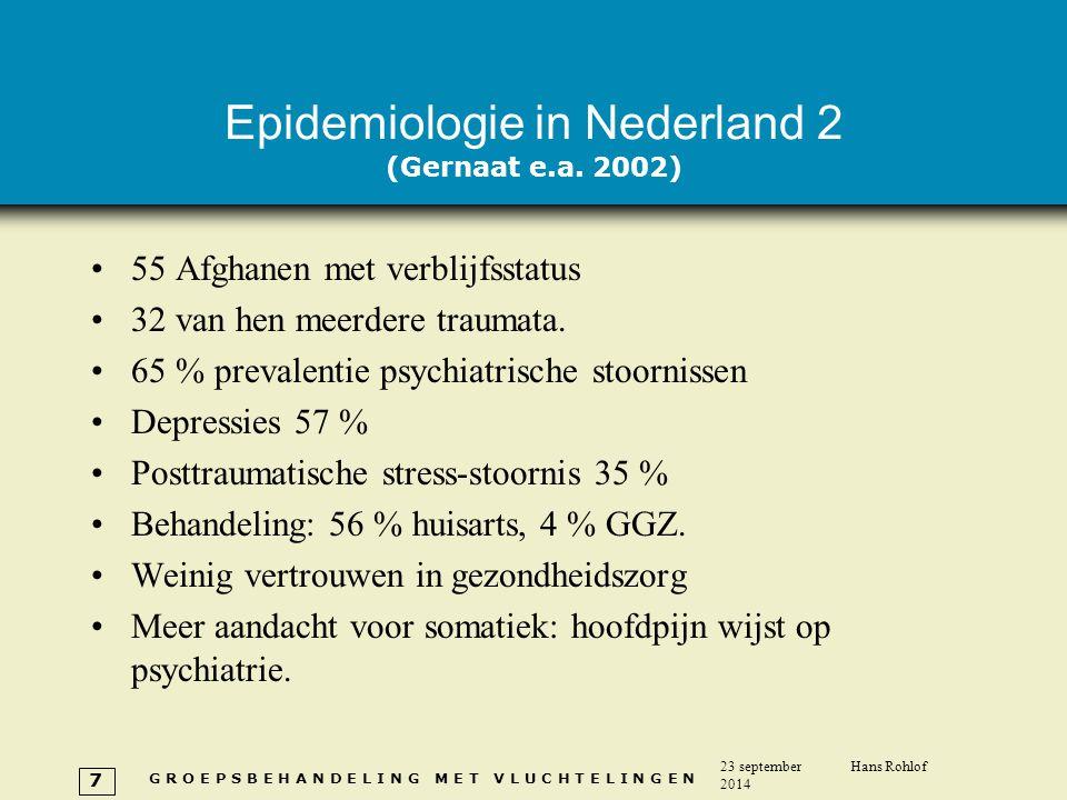 G R O E P S B E H A N D E L I N G M E T V L U C H T E L I N G E N 23 september 2014 Hans Rohlof 7 Epidemiologie in Nederland 2 (Gernaat e.a. 2002) 55