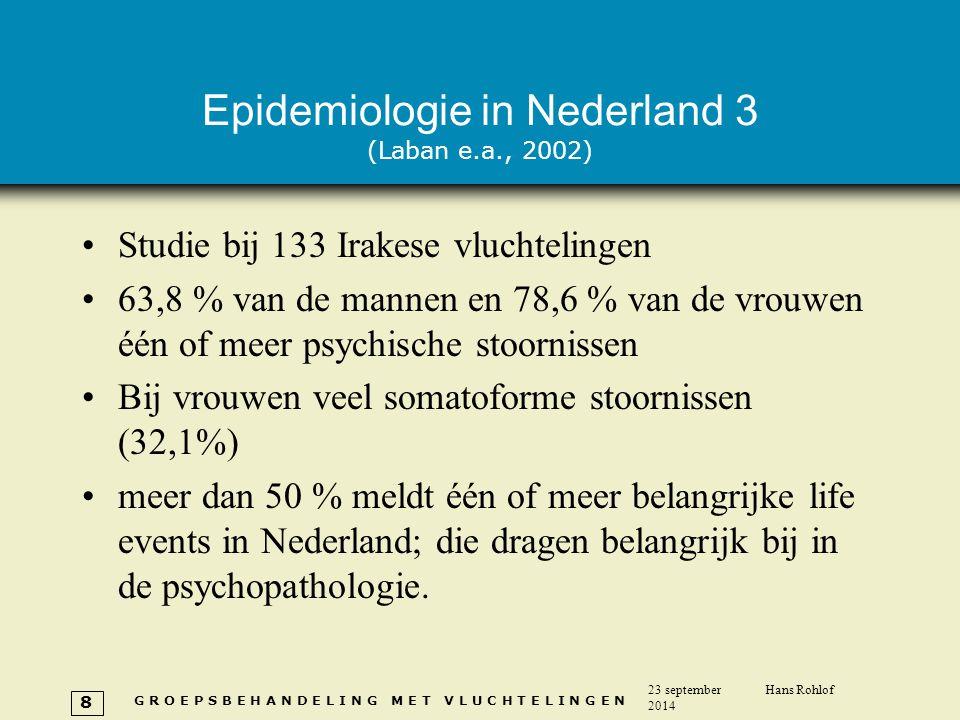 G R O E P S B E H A N D E L I N G M E T V L U C H T E L I N G E N 23 september 2014 Hans Rohlof 8 Epidemiologie in Nederland 3 (Laban e.a., 2002) Stud