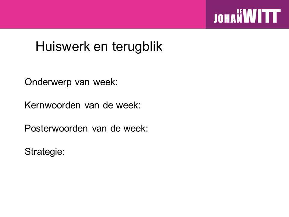 Posterwoorden van week 1