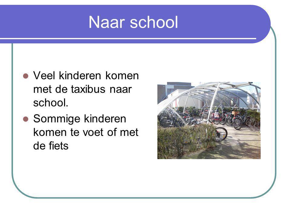 Naar school Veel kinderen komen met de taxibus naar school.
