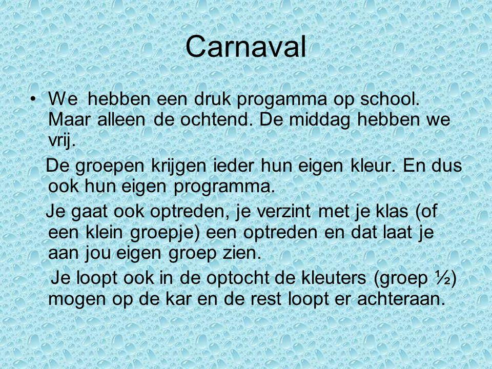 Carnaval We hebben een druk progamma op school. Maar alleen de ochtend.