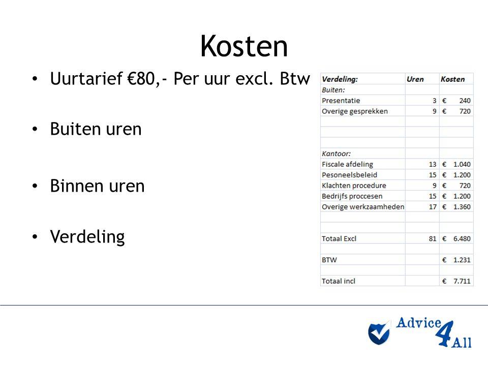 Kosten Uurtarief €80,- Per uur excl. Btw Buiten uren Binnen uren Verdeling