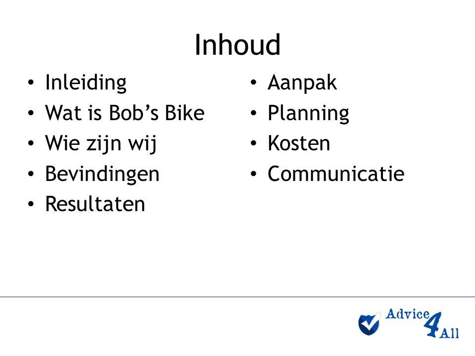 Inhoud Inleiding Wat is Bob's Bike Wie zijn wij Bevindingen Resultaten Aanpak Planning Kosten Communicatie
