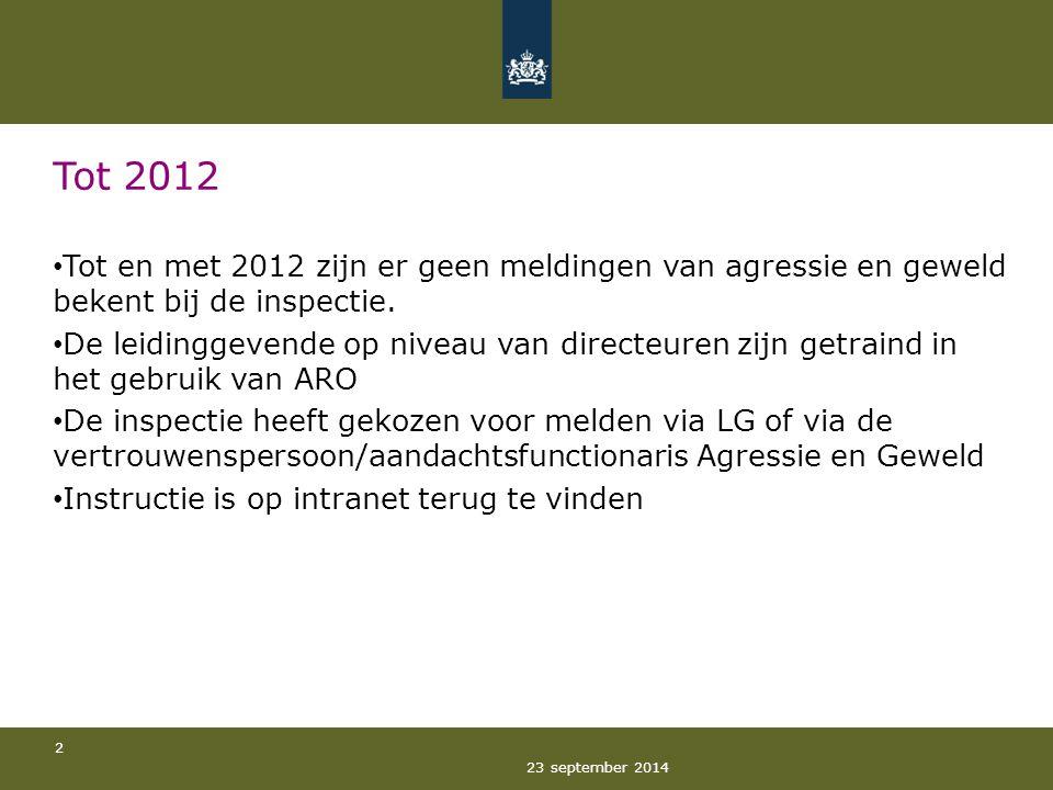 23 september 2014 2 Tot 2012 Tot en met 2012 zijn er geen meldingen van agressie en geweld bekent bij de inspectie. De leidinggevende op niveau van di