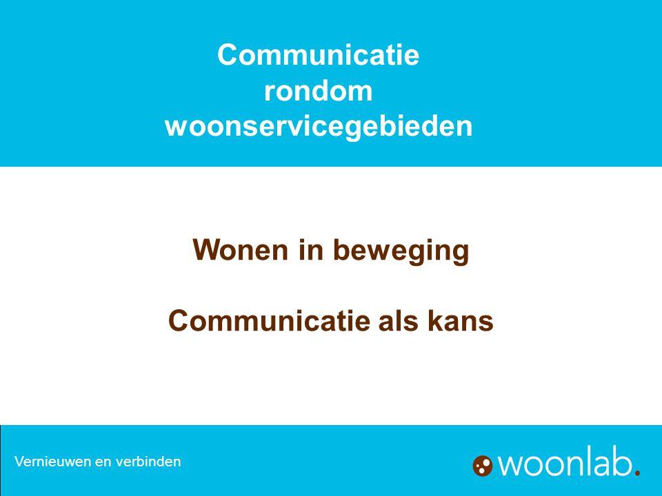 Opzet 1.Communicatie in woonservicegebieden Spelers en factoren 2.Communicatie en regie met partners in woonservicegebieden 3.Communicatie met inwoners in woonservicegebieden Vernieuwen en verbinden