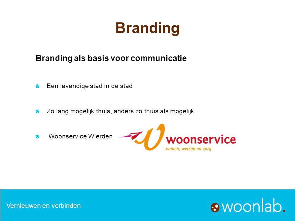 Branding als basis voor communicatie Een levendige stad in de stad Zo lang mogelijk thuis, anders zo thuis als mogelijk Woonservice Wierden Branding V