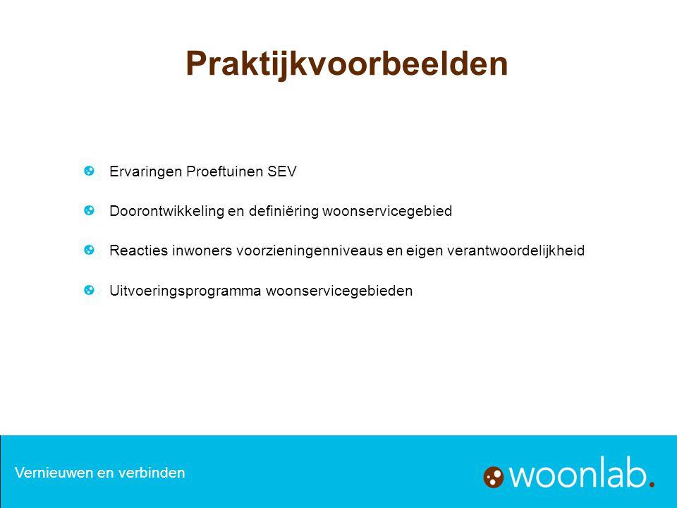 Praktijkvoorbeelden Ervaringen Proeftuinen SEV Doorontwikkeling en definiëring woonservicegebied Reacties inwoners voorzieningenniveaus en eigen veran