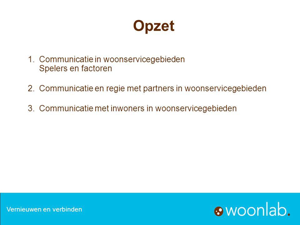 Opzet 1.Communicatie in woonservicegebieden Spelers en factoren 2.Communicatie en regie met partners in woonservicegebieden 3.Communicatie met inwoner