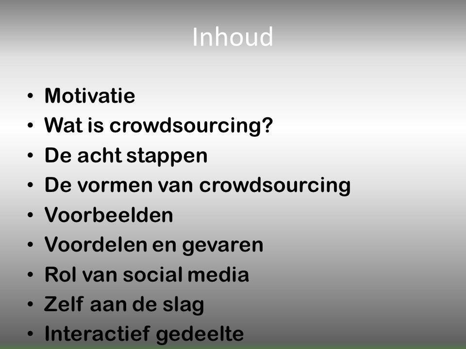 Inhoud Motivatie Wat is crowdsourcing.