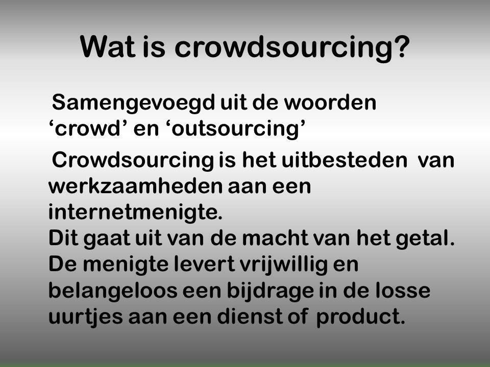 Gevaar  Te veel crowdsourcing  Waar maken wat je beloofd  Veel troep  Niet TE afhankelijk van worden  'Crowd' actief houden  Ideeën worden gestolen