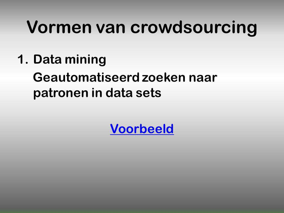 Vormen van crowdsourcing 1.Data mining Geautomatiseerd zoeken naar patronen in data sets Voorbeeld