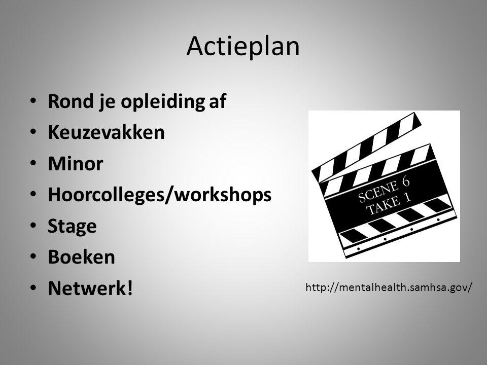 Actieplan Rond je opleiding af Keuzevakken Minor Hoorcolleges/workshops Stage Boeken Netwerk.